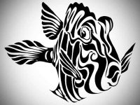 Fish tattoo with tribal designs