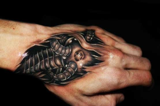 Hand with cool tattoo