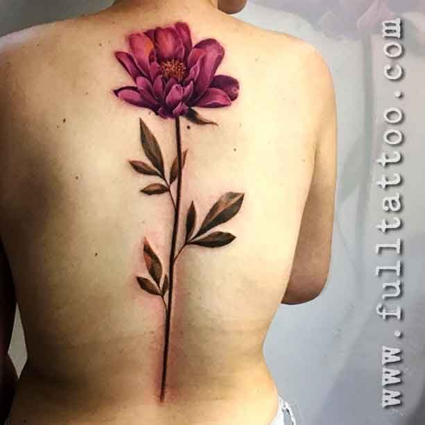 Spine Tattoos Flowers