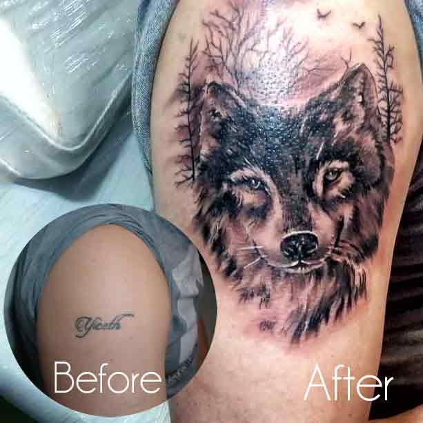Wolf Tattoo Cover Up